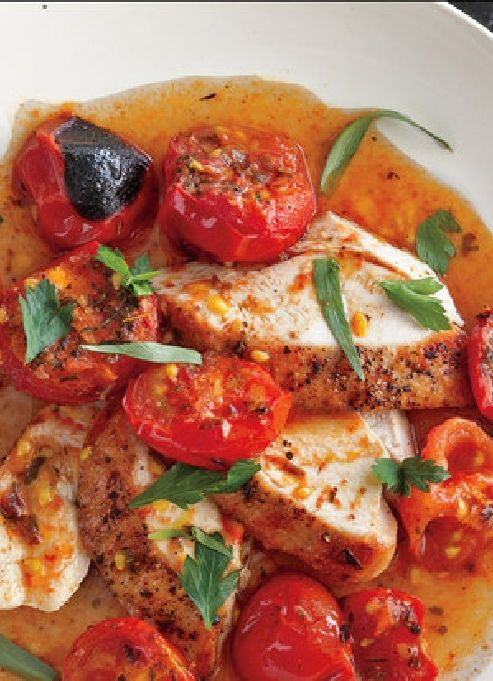Low FODMAP & Gluten free Recipe - Herb and pepper chicken with roasted vine tomatoes