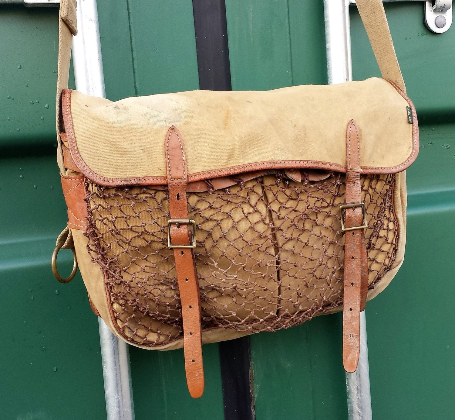 Old vintage barbour liddesdale fly fishing game shooting for Fly fishing bag