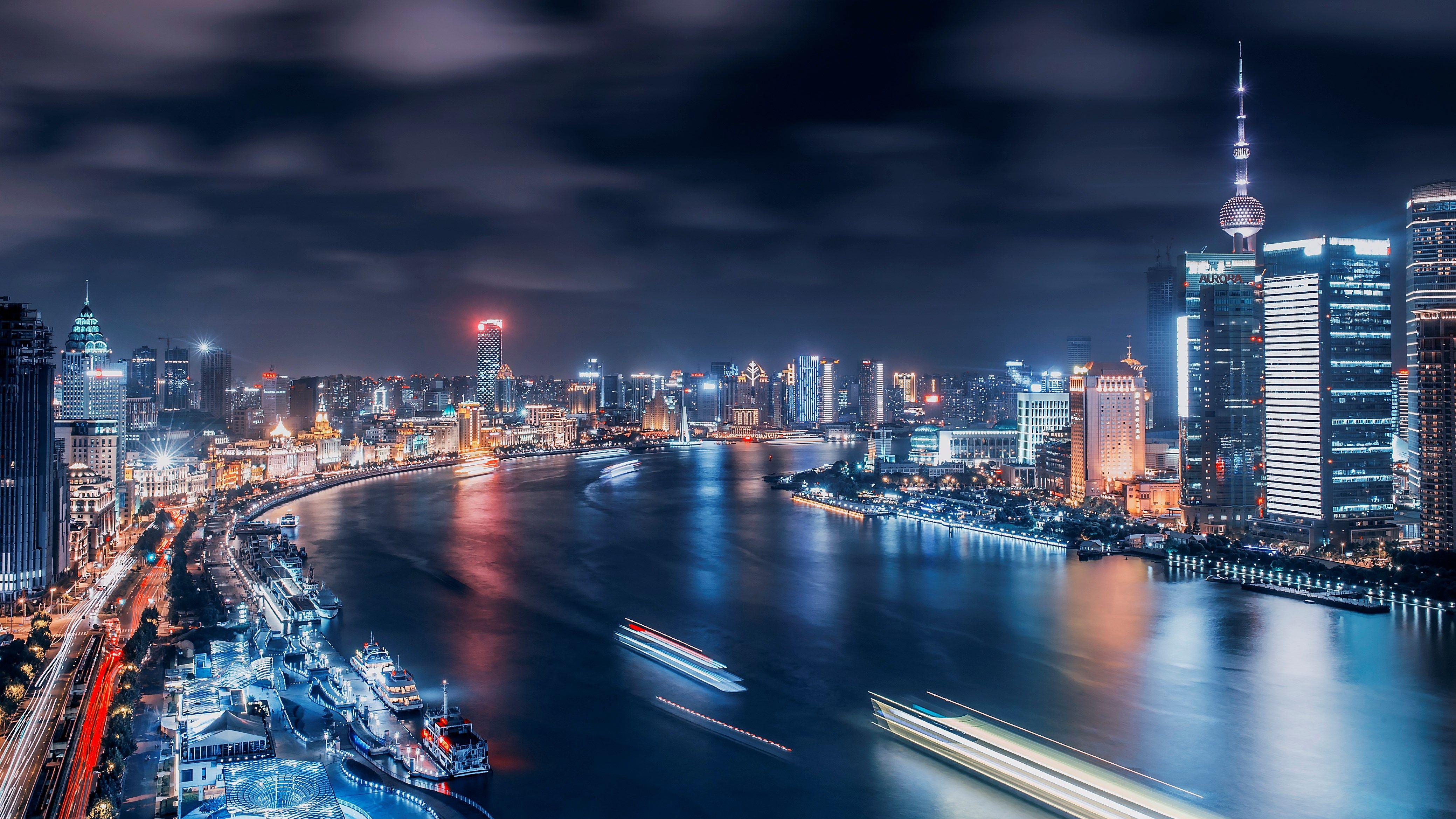 Обои здания, шанхай, ночной город, shanghai, китай, china. Города foto 18