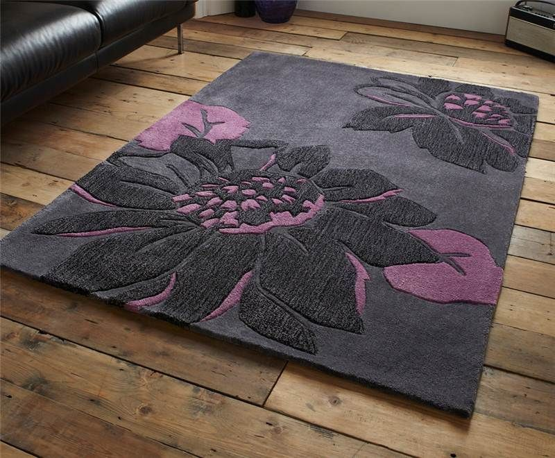 Modern purple aubergine plum colour rugs in large small for Purple area rugs contemporary