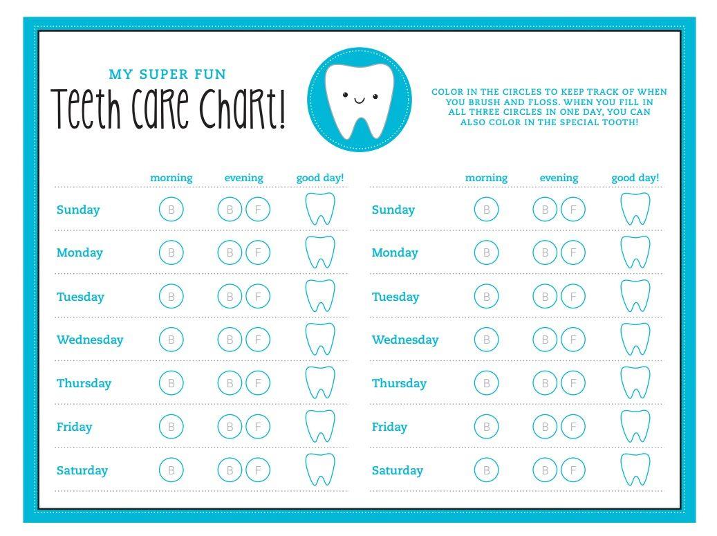 FREE printable kids' teeth care chart Chickabug Teeth