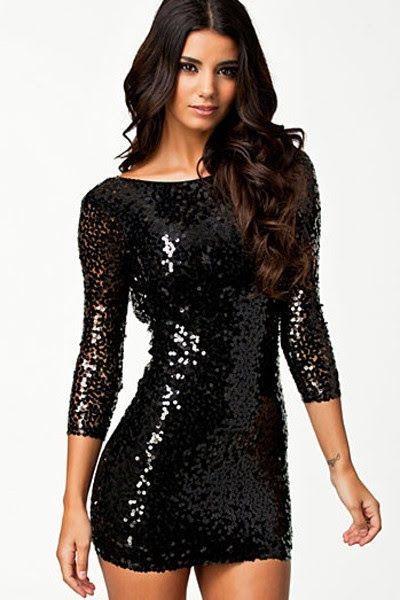 Combinar vestido de lentejuelas negro