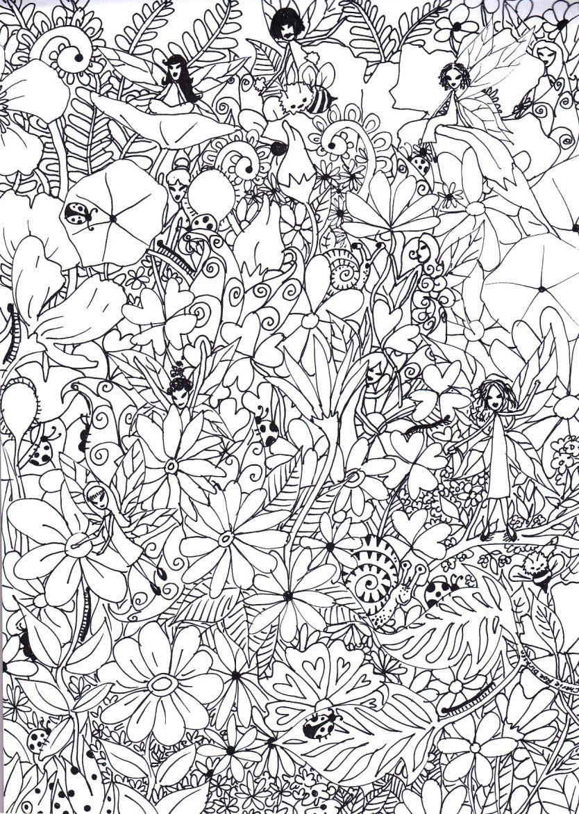 Coloring pages kids Fairy Garden Coloring Sheet
