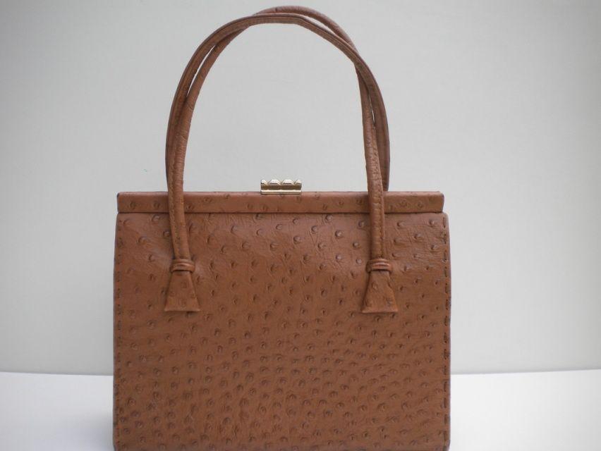 Vintage 50s Ostrich Leather Handbag By Waldybag