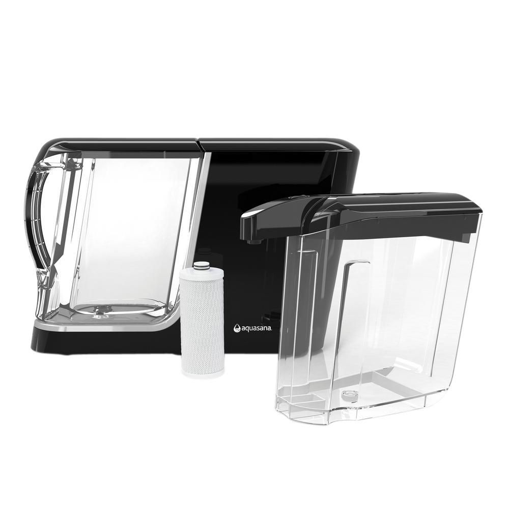 16-Cup Dispenser with 8-Cup Pitcher Water Filtration System in Black ...