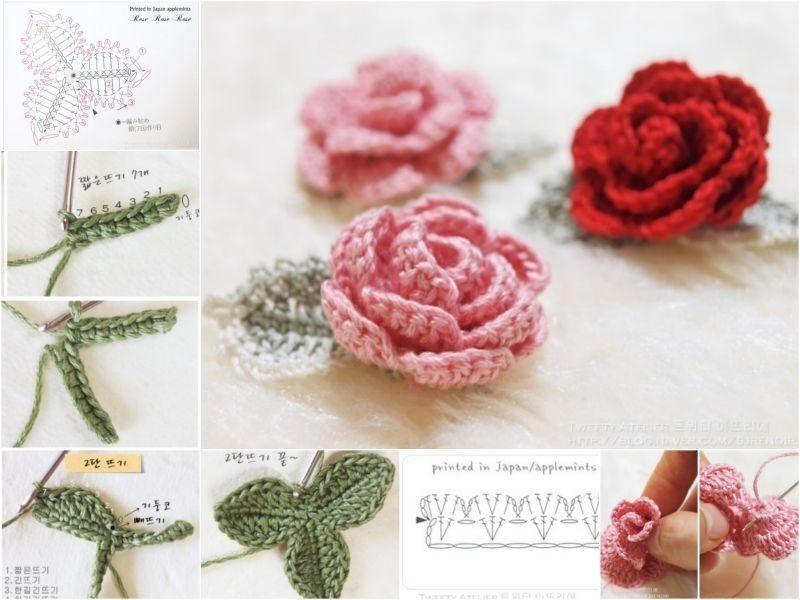Wie Hübsches 3D-Spitze-Rosen häkeln | Häkeln | Pinterest | Rose ...