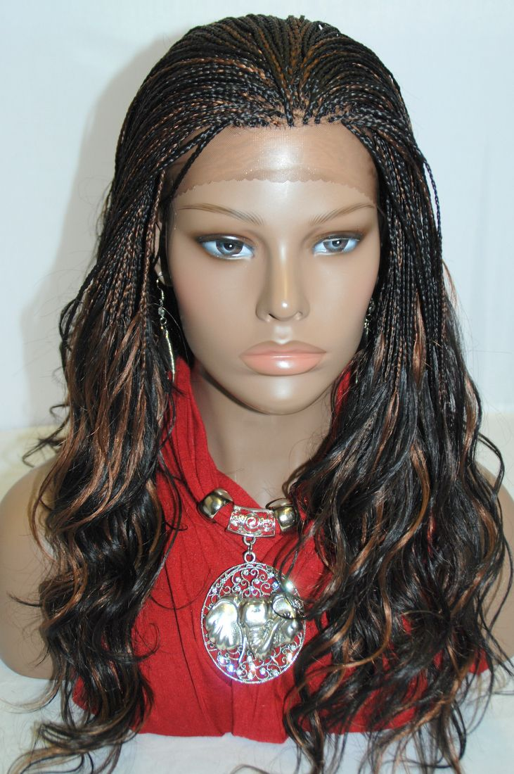 Braided lace front wig micro braids color b in inches