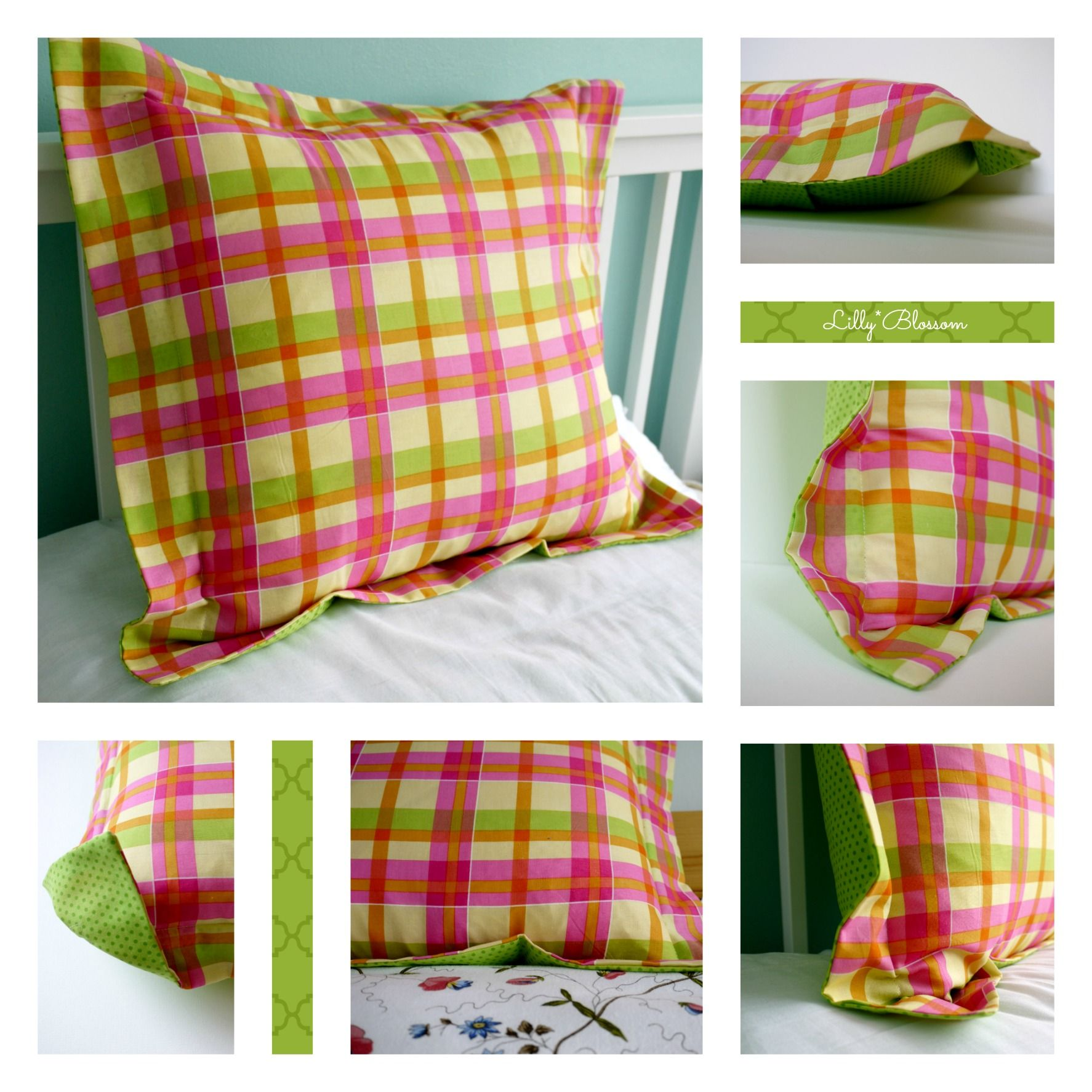 my latest cushion design a simple Oxford border pillow checked cotton with a lime · Sewing PillowsPillow PatternsPattern ...