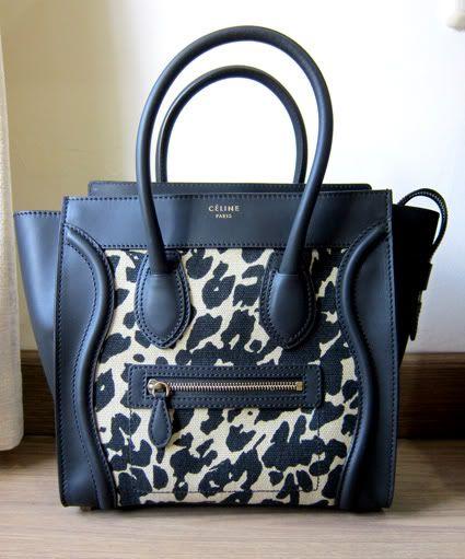 Céline Micro Luggage Tote In Jute Leopard