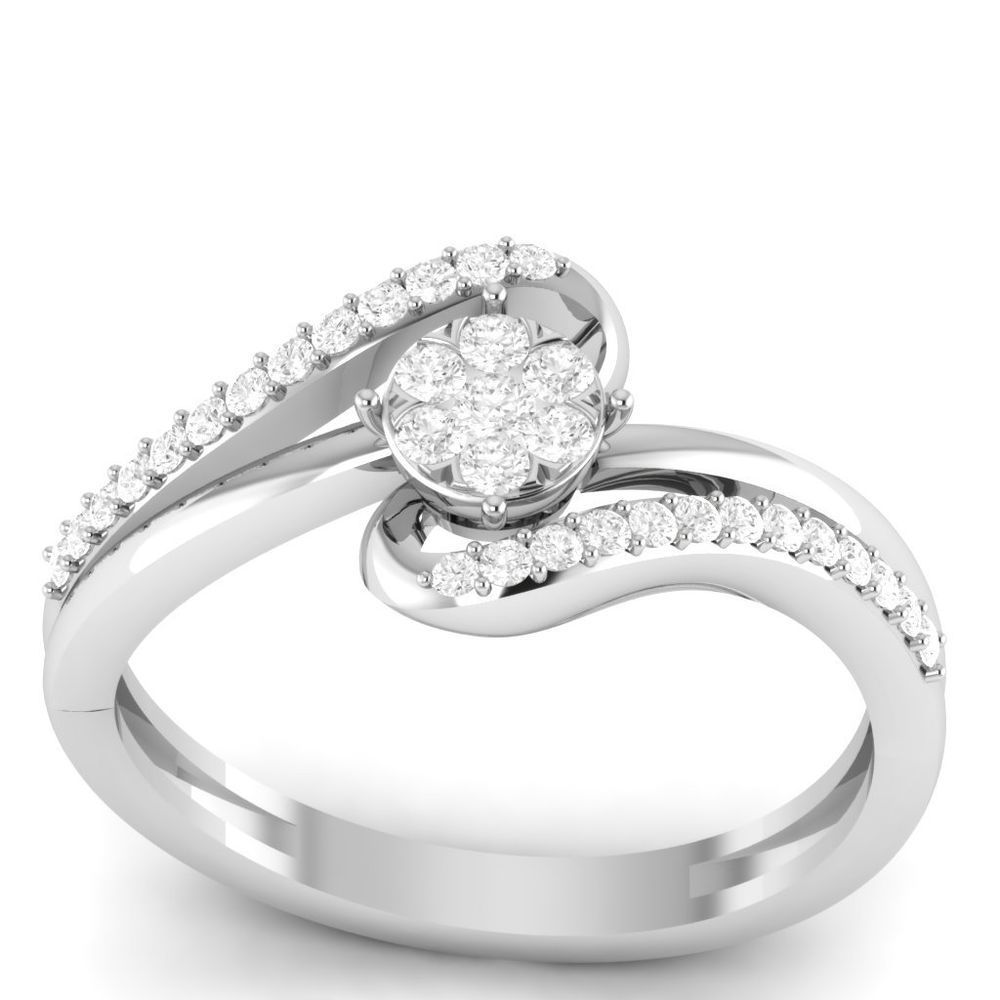 white gold engagement ring with silver wedding band
