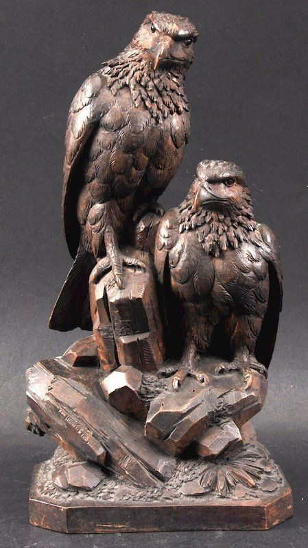A Black Forest Carved Wood Group Of Two Eagles On A Roc On Carving