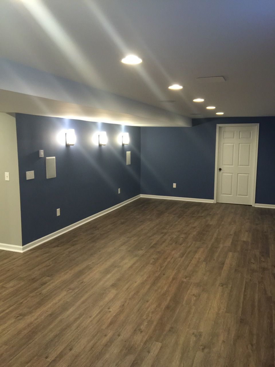 Sherwin williams perfect greige ideas pictures remodel - Sure Fix Remodeling Easton Pa Basement Remodel With Sherwin Williams Denim Color White Trim And Beautiful Lighting