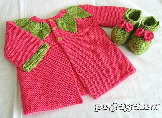 вязание детской кофточки спицами с листьями спиці вязание для