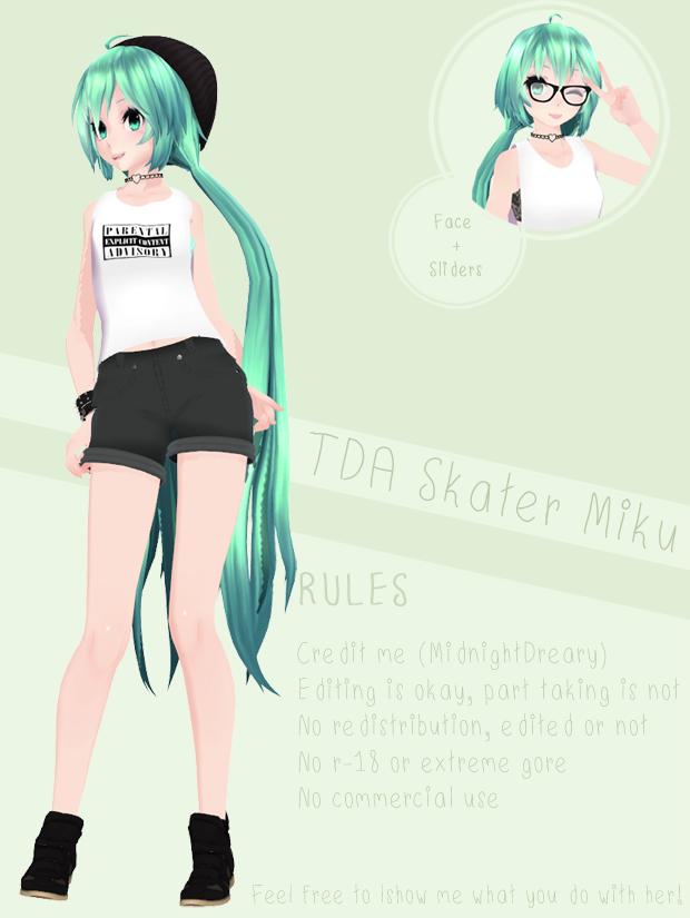 MMD] TDA Skater Miku [DL] by XMidnightDrearyX | vr chat