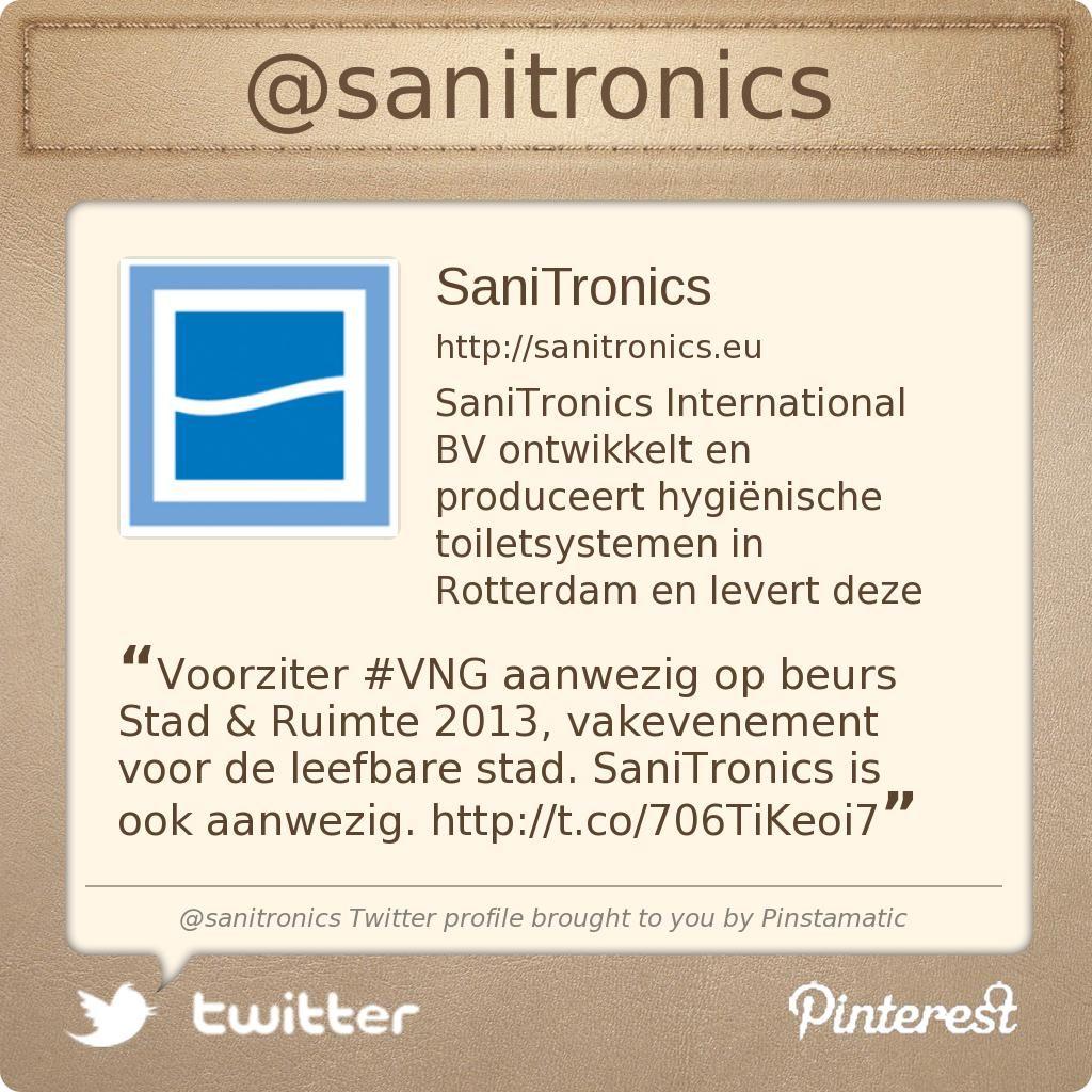 Voorziter #VNG aanwezig op beurs Stad & Ruimte 2013, vakevenement voor de leefbare stad. SaniTronics is ook aanwezig. http://mailing.elbamedia.nl/mailcamp/display.php?M=202645=7255f98aac12e4e232c4dc4c510853f0=699=109=291 …
