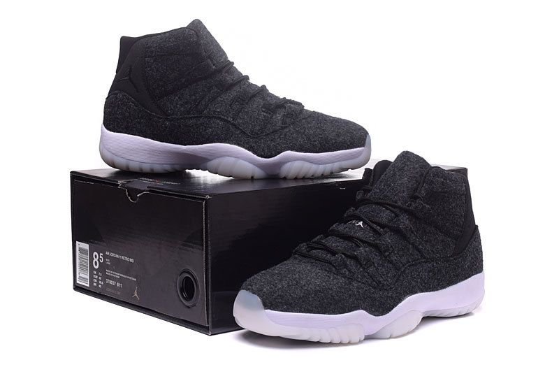 "fe476e86950c04 2017 Womens Air Jordan 11 GS ""Wool"" Dark Grey Metallic Silver-Black ..."