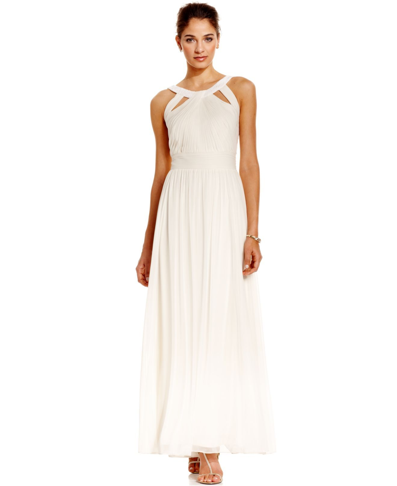 Alex evenings dress sleeveless pleated evening gown womens