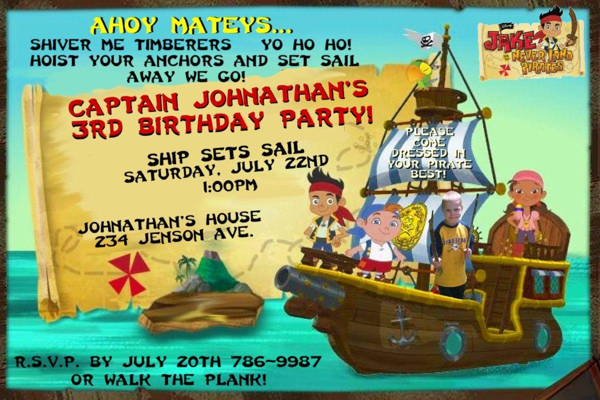 JAKE AND THE NEVERLAND PIRATES Birthday Party Invitations- Custom ...