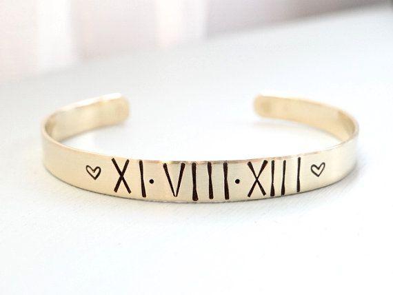 Hand Stamped Gold Cuff Bracelet Roman Numerals