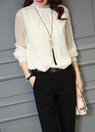 Women's Fashion High Neck Lantern Sleeve T-shirts Chiffon Blouse ...