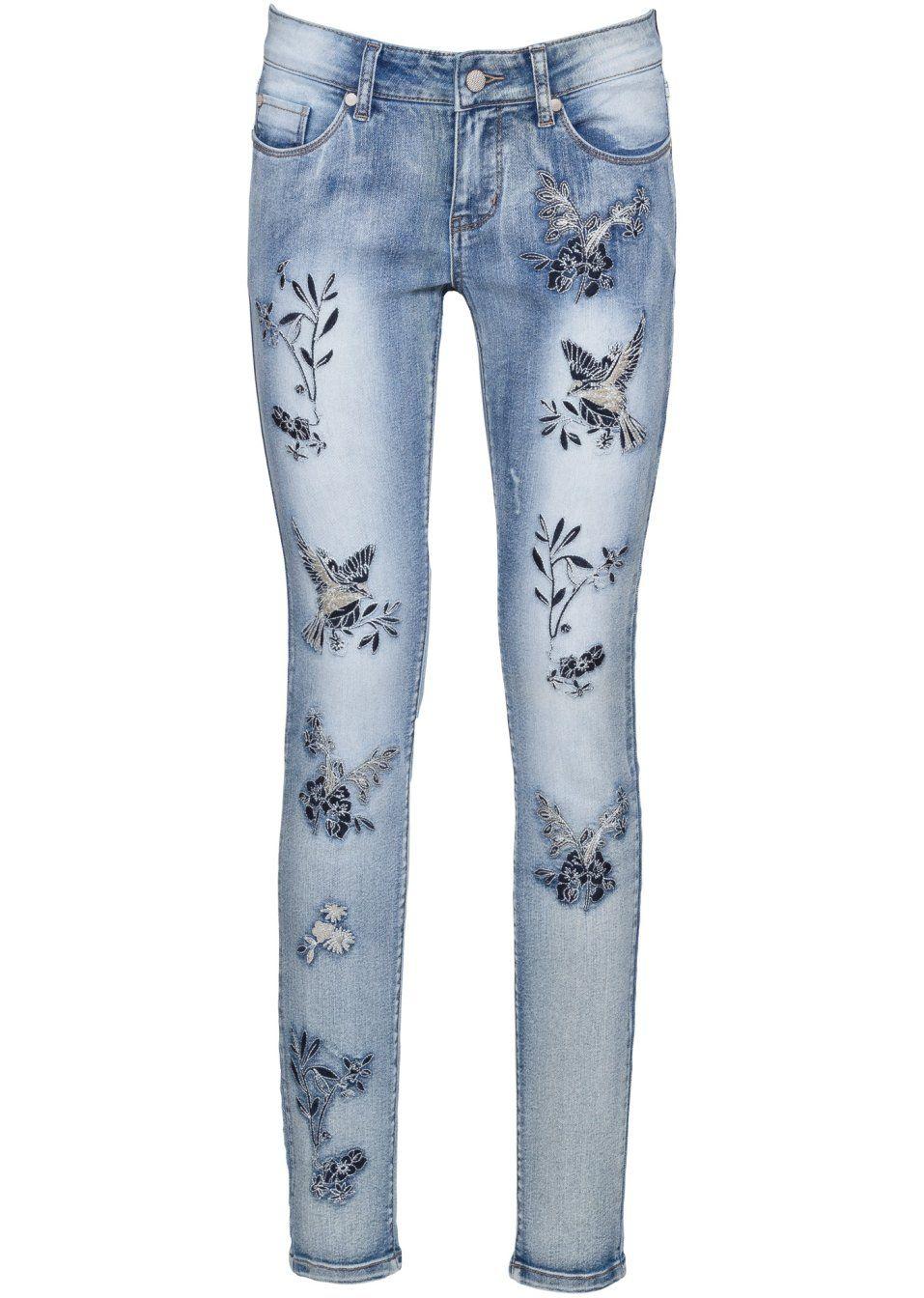237eada6348 Заказать в Интернет-магазине bonprix.ru Джинсы Skinny с вышивкой голубой -  RAINBOW от