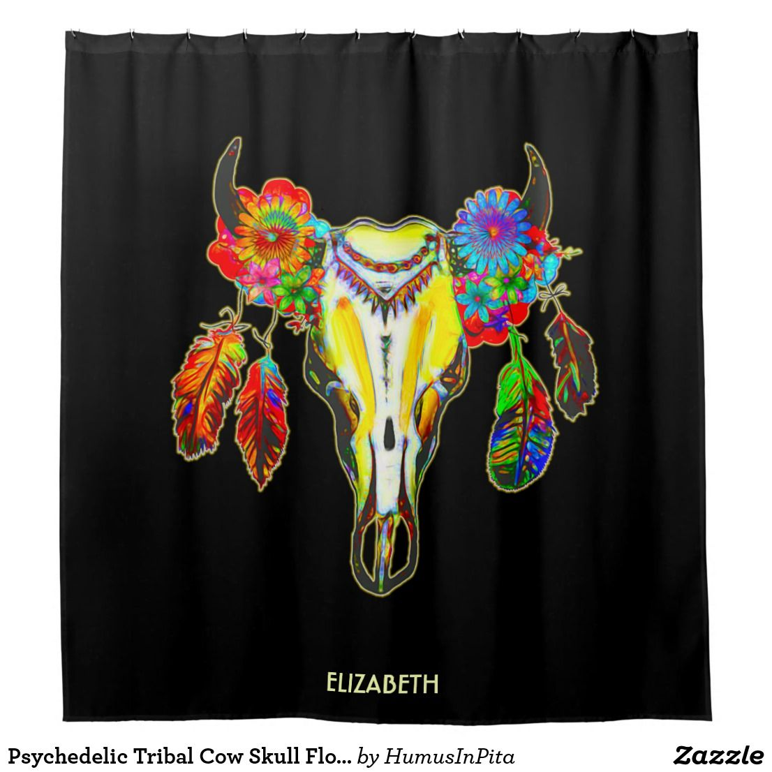 Psychedelic Tribal Cow Skull Flowers Feathers Col Shower Curtain
