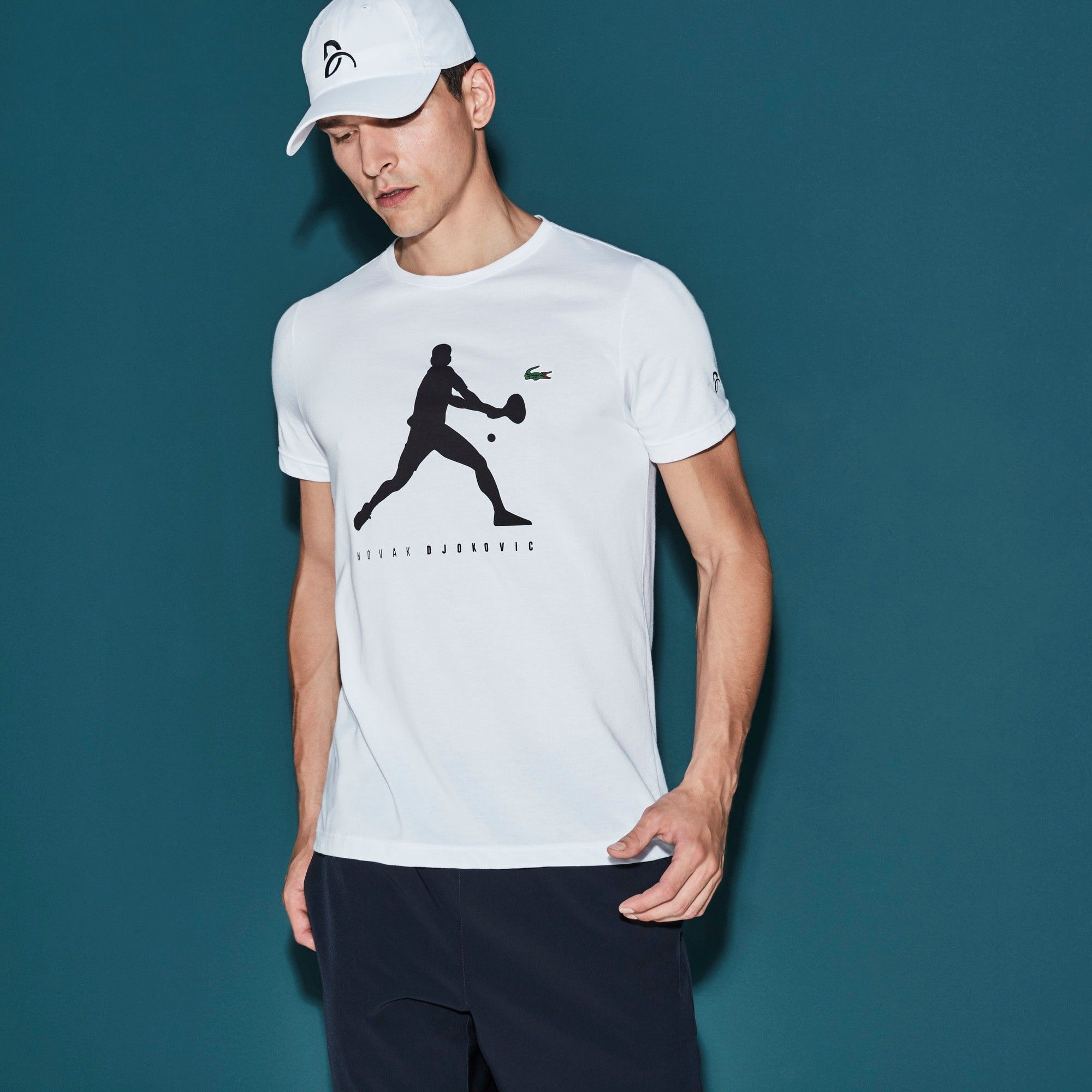 Lacoste Men S Sport Tennis Tech Jersey T Shirt Novak Djokovic Supporter Collection White Modesens Lacoste Men Lacoste Lacoste Sport