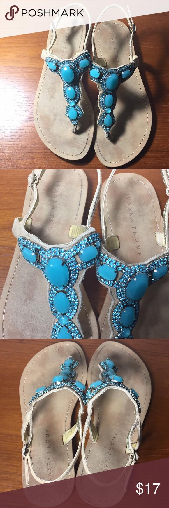 621925b5d6608f Ivanka Trump tan and turquoise jeweled sandals 6 Ivanka Trump sandals