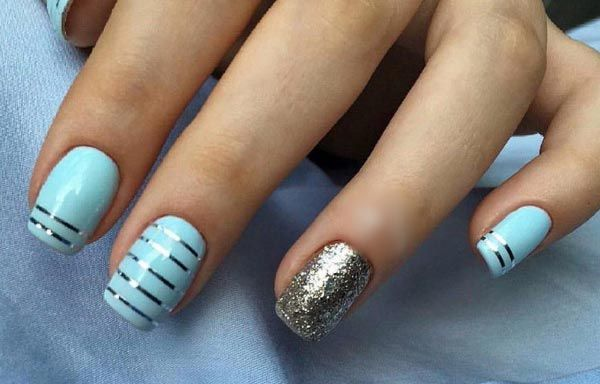 Unas Decoradas Color Azul Celeste Unas Pinterest Nails Nail