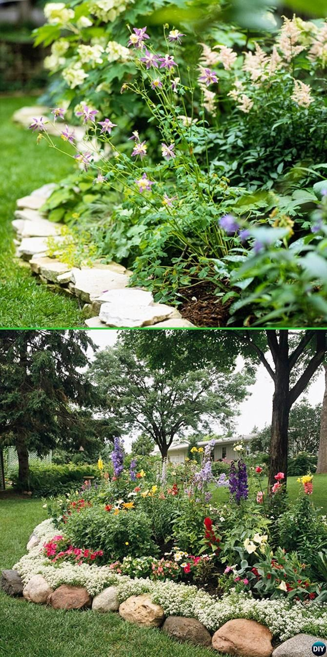 Stone Landscape Projects : Rock stone edging creative garden bed ideas