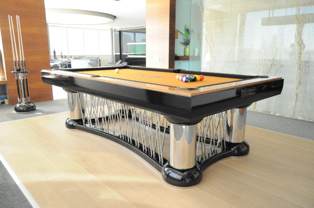Great Nice Cool Fantastic Elegant Modern Custom Modern Pool Table With Dark Black  Frame Accent Concept And Has Metal Legs