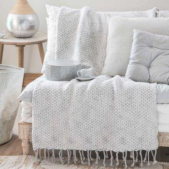 colcha de algodn blanco y gris 130x170 cm samira maison du monde