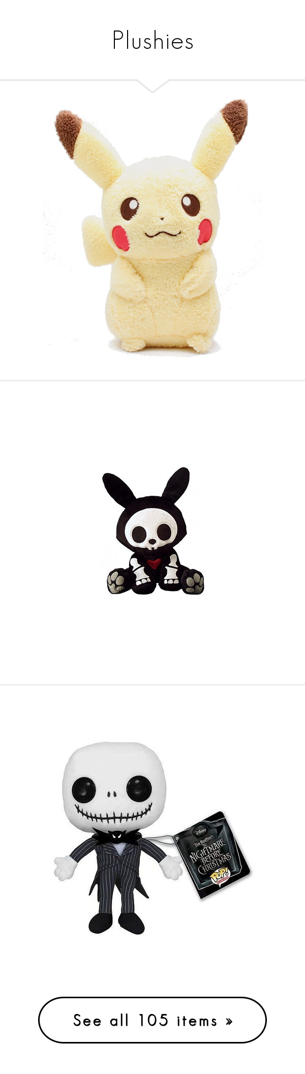 """Plushies"" by band-trash-33 ❤ liked on Polyvore featuring pokemon, plushies, fillers, toys, accessories, stuffed animals, skelanimals, baby, animals and other"