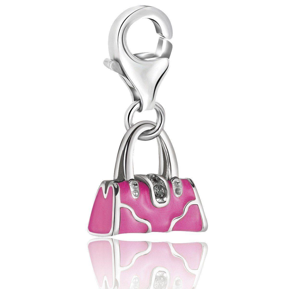 Sterling Silver Pink Enameled Handbag Charm With Crystal Lock Detailing