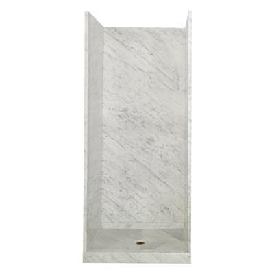 Allure Carrara Marble Shower Wall 79118 Home Depot Canada 1599 I Like The Pattern In Waterproof Shower Wall Panels Marble Showers Marble Shower Walls