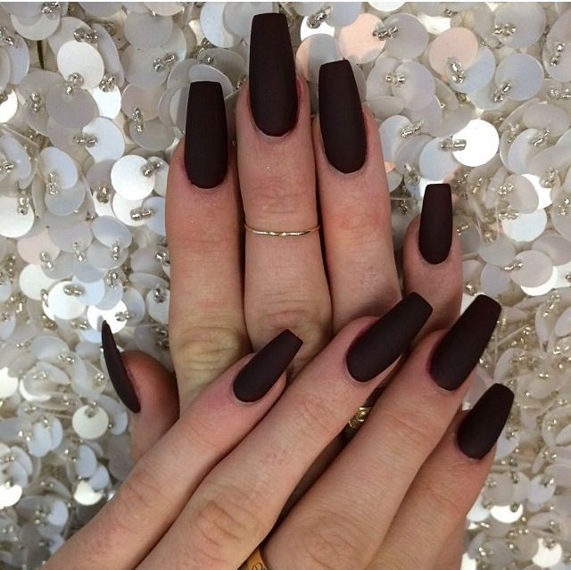 Want! Matte black coffin shaped nails | Nails / Hair | Pinterest ...