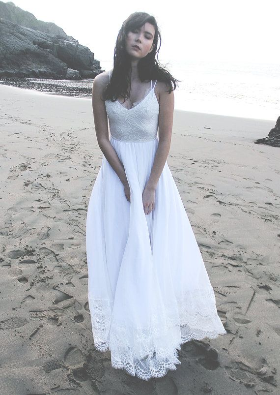 Silk Chiffon and Stretch Lace Beach Wedding Dress, Beach Wedding Dress with Racerback and Chantilly Lace Embellishments - Penelope Dress