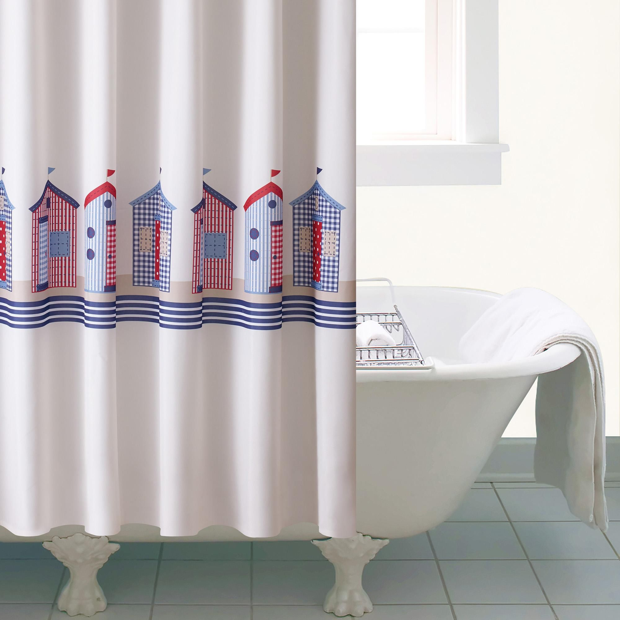 Beach Huts Shower Curtain Curtains Blue Shower Curtains