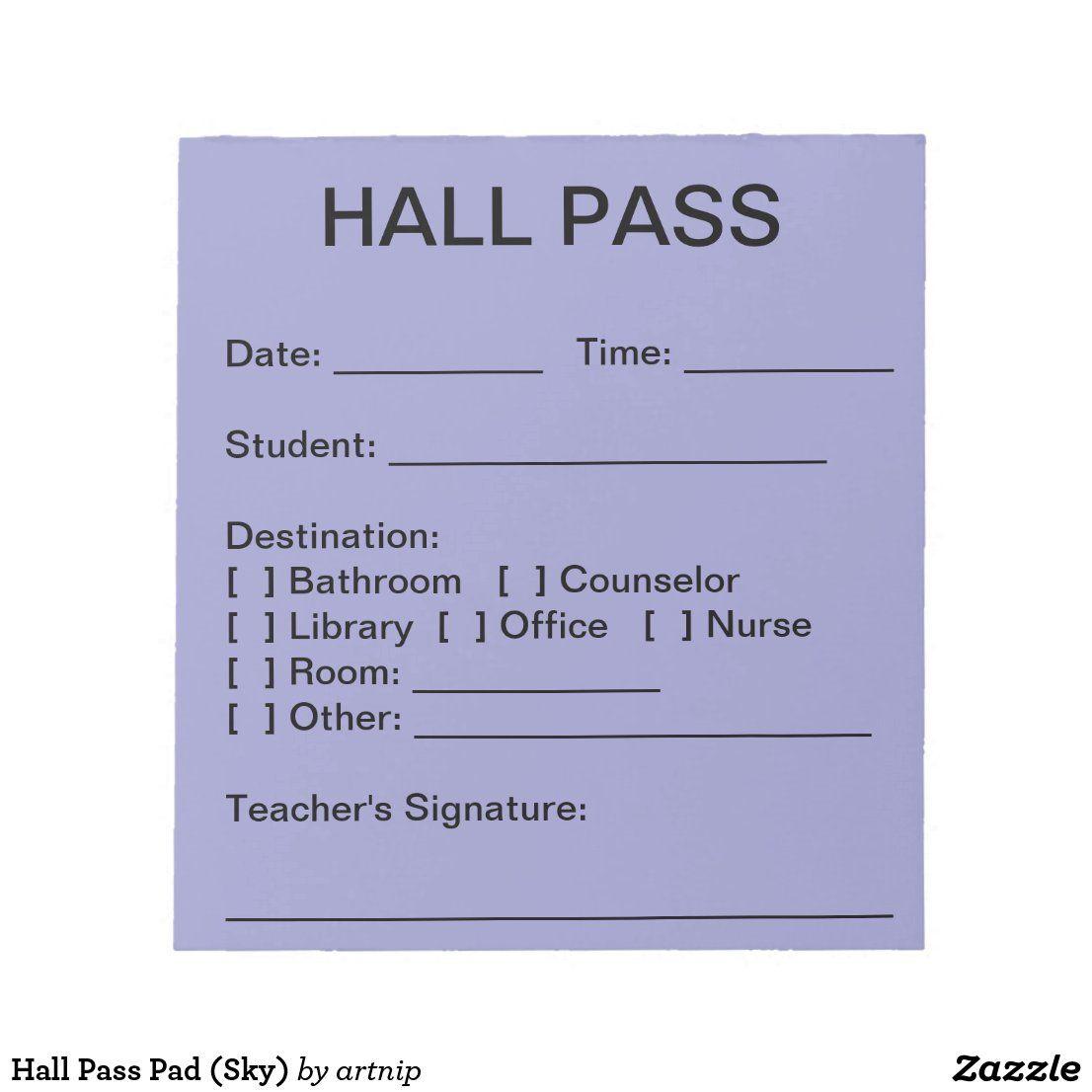Hall Pass Pad Sky Zazzle Com In 2021 Teachers Toolbox Hall Pass Teaching