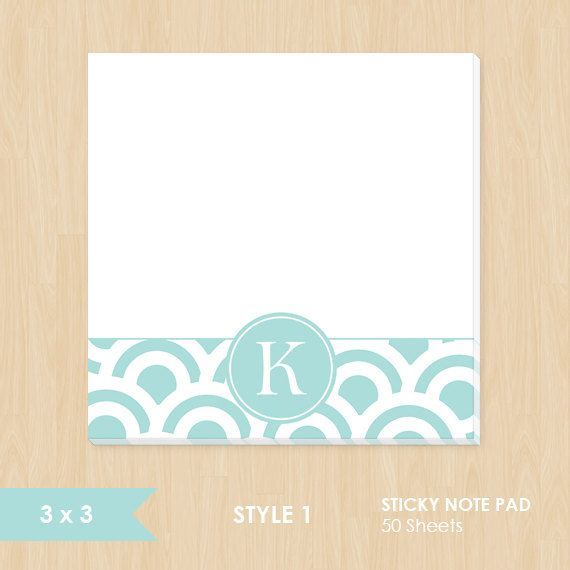 Personalized Sticky Note Pad // Teal and White Circle by k8inked