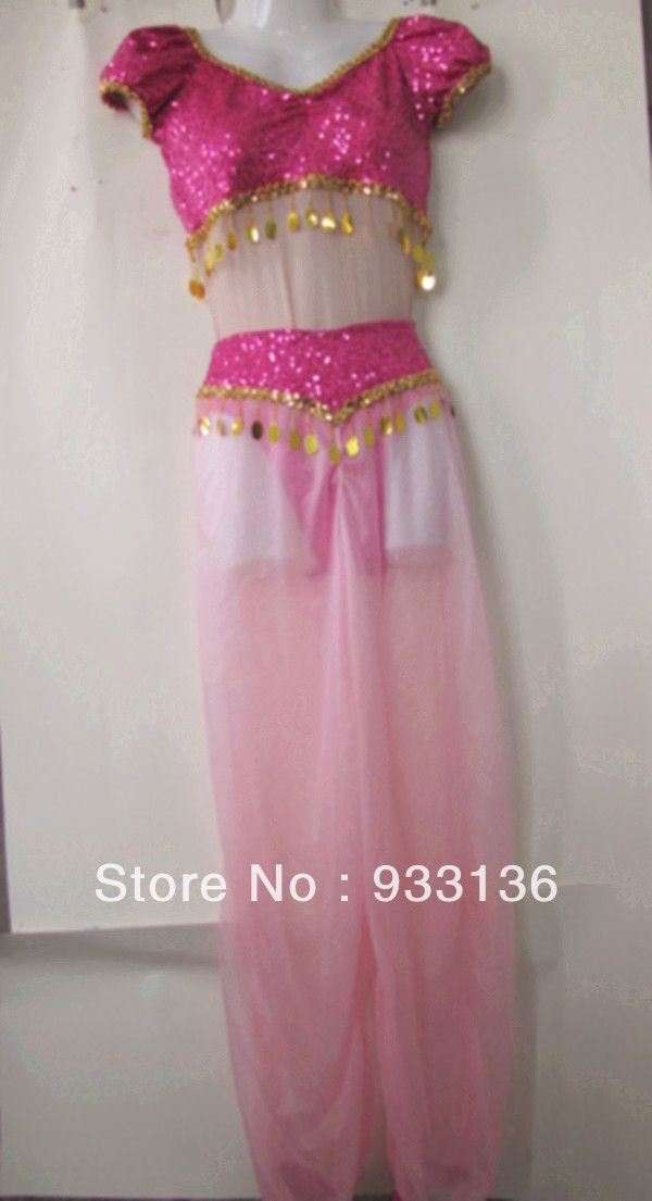 I Dream of Jeannie Costume - hot pink shiny sequins mesh woman latin dress-in Women from Apparel & Accessories on Aliexpress.com