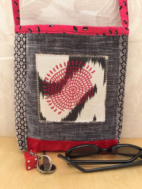 Street style fabric bag, embroidered crossbody casual bag