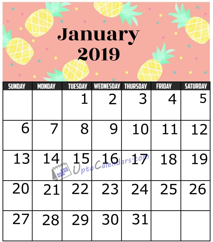January 2019 Calendar Template Https Www Uptocalendars Com