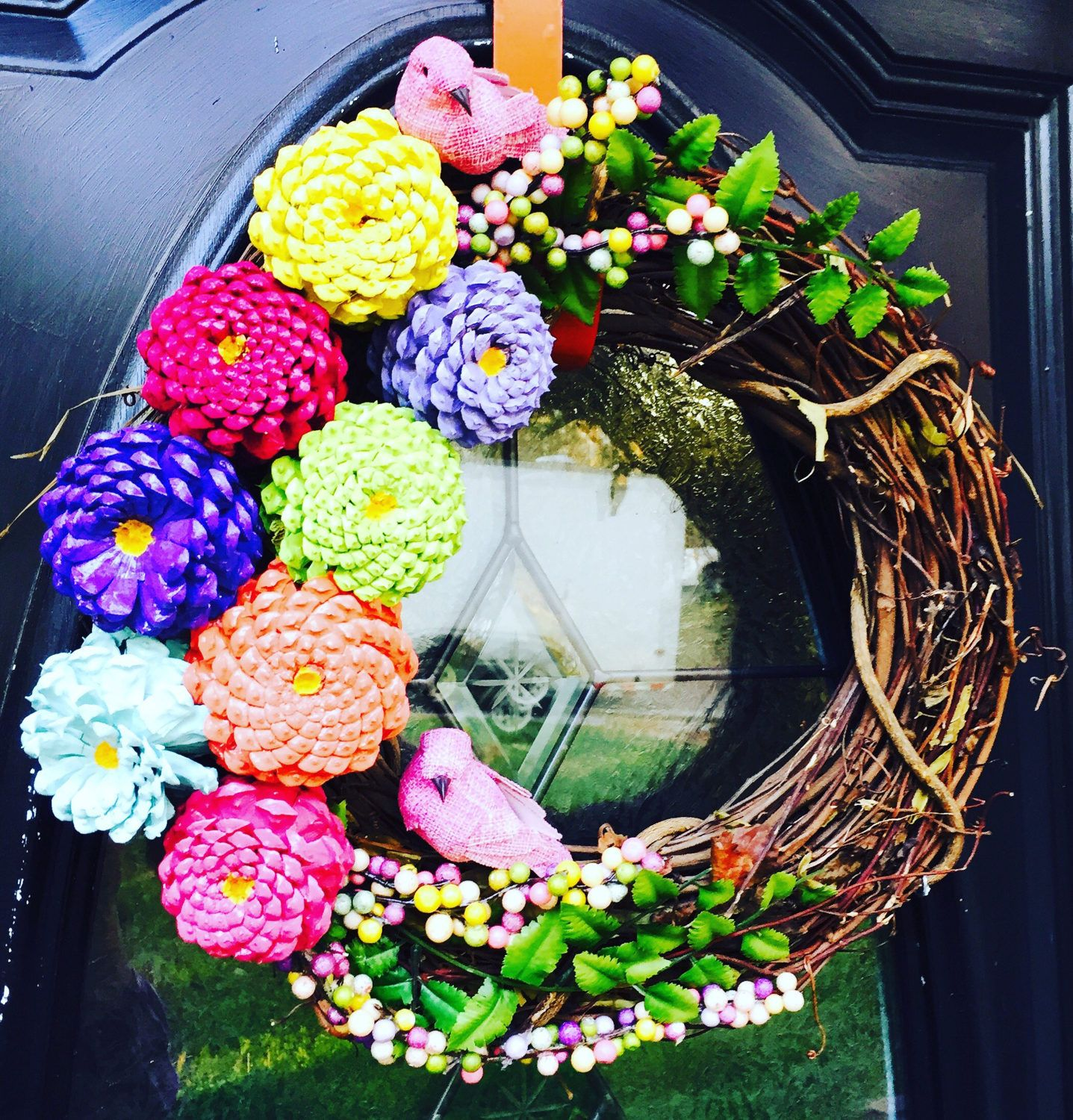 Spring wreath for front door easter wreath zinnia pinecone pincone