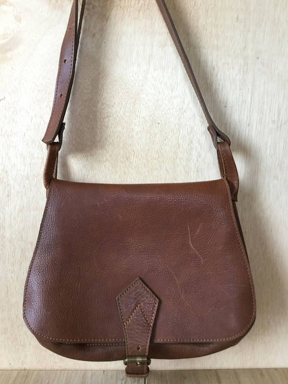 Vintage Cognac Brown Leather Crossbody Saddle Bag Purse
