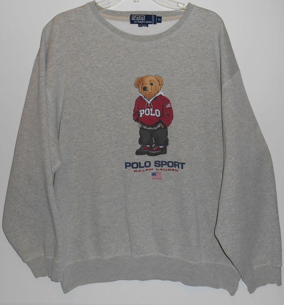 Polo Ralph Lauren Men/'s Orange Logo Graphic Vintage Terry Pullover Sweatshirt