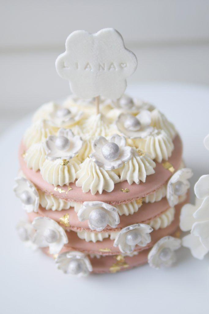 Pink Cherry Blossom Macaron Cake tutorial with Big macaron - macaron template