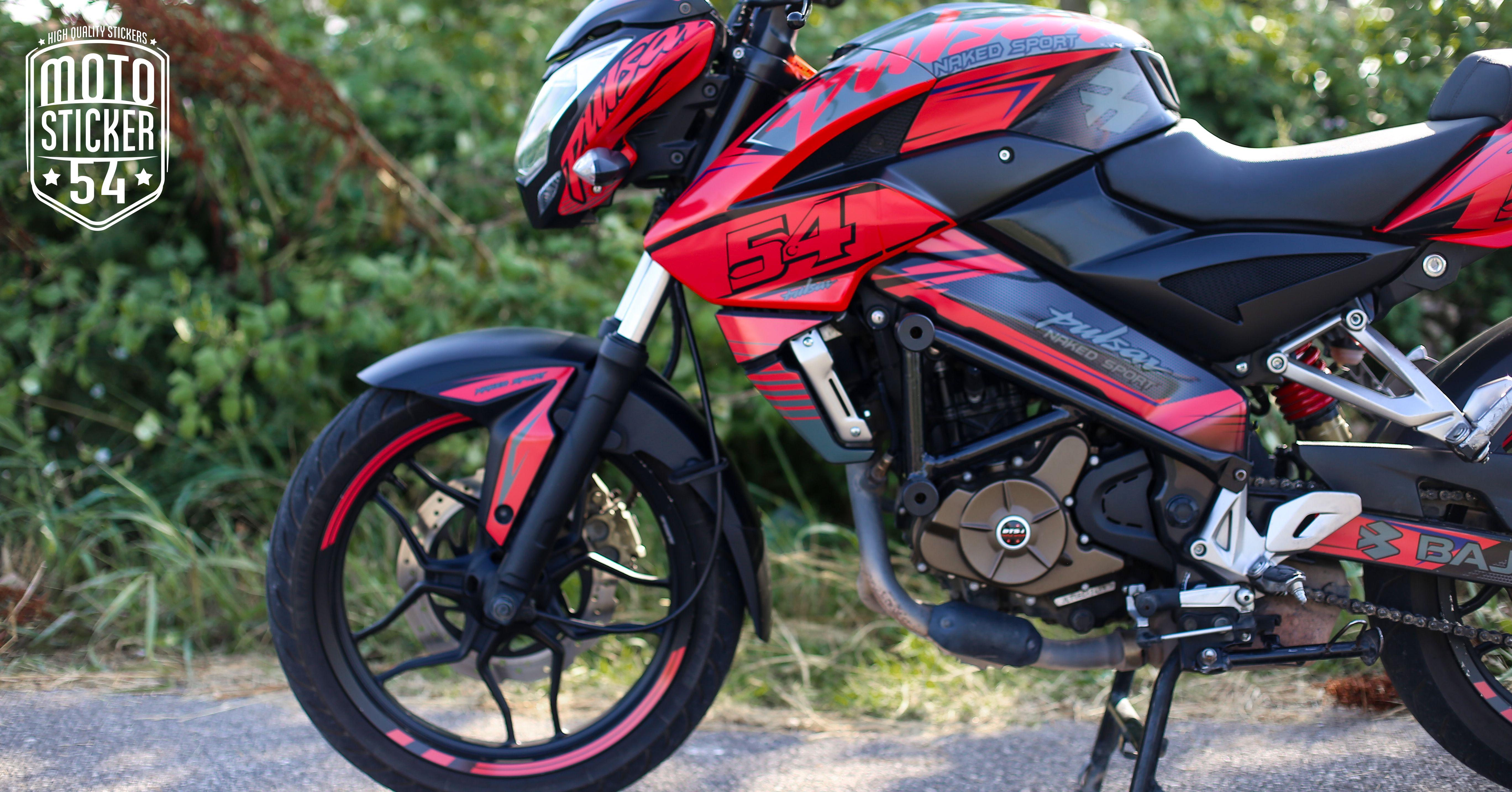 Bajaj pulsar ns200 custom design red sticker kit