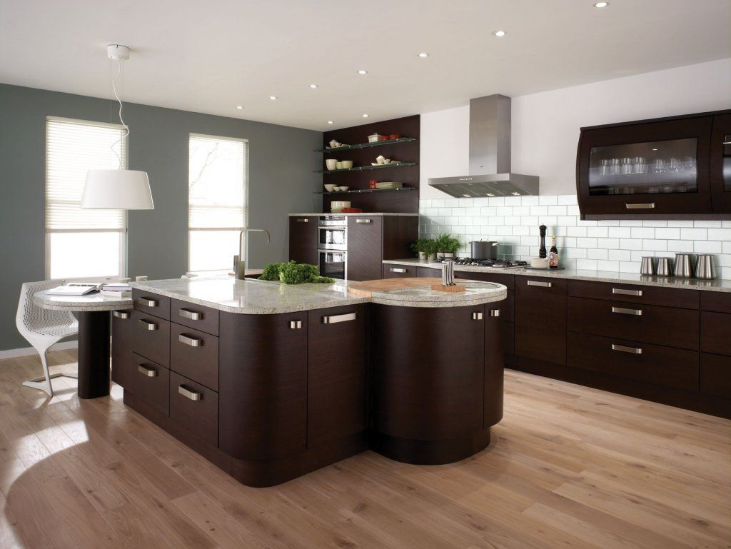 contemporary kitchen design. Contemporary Kitchen Design For Anniversary Gift : Wooden Floor Marble Counters White Conventional Chandelier Hidden Lamps Grey Chimney Brown P