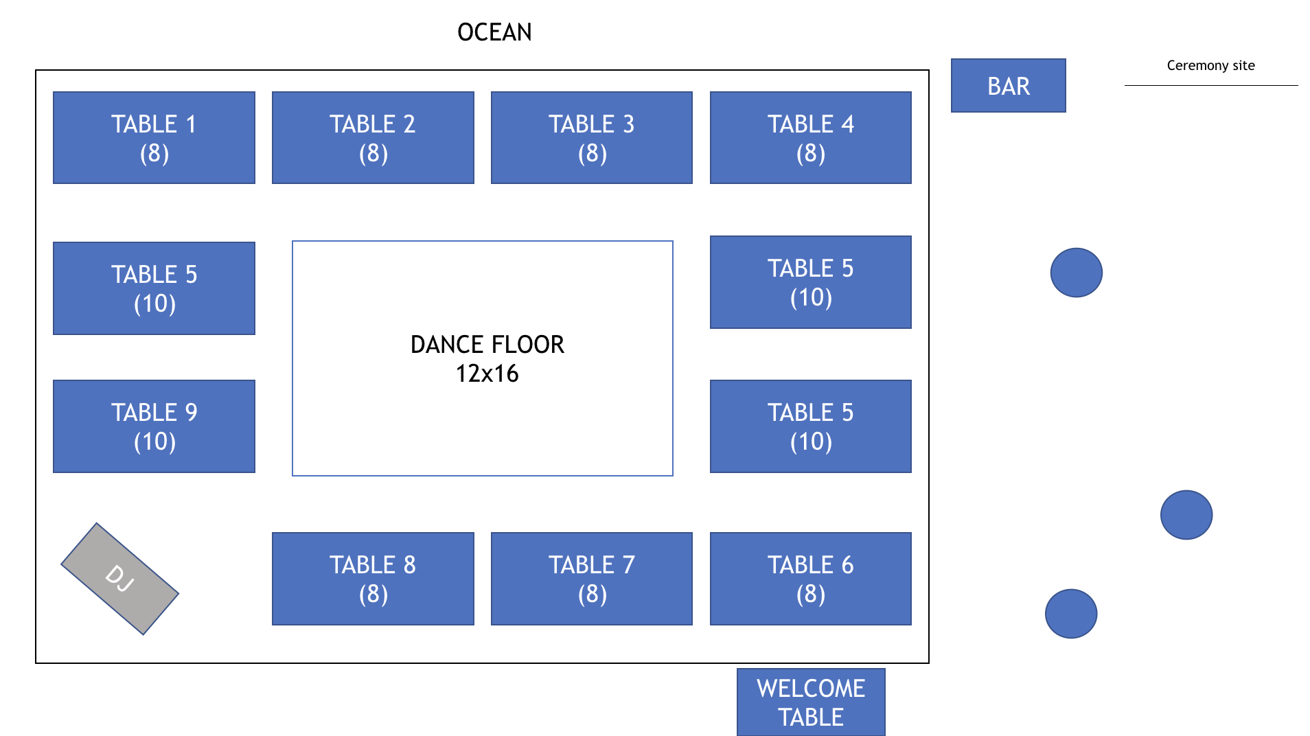 Floor Plan For 100 Guests 30x40 Tent 10 Banquet Tables Beach House Restaurant Oceanfront Wedding Hawaii Wedding